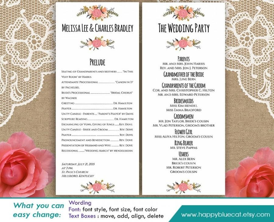 Wedding Program Template Microsoft Word Diy Printable Program Wedding Template Instant Download