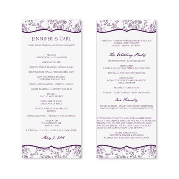 Wedding Program Template Microsoft Word Instant Download Wedding Program Template by Karmakweddings