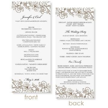Wedding Program Template Microsoft Word Instant Download Wedding Program Template Vintage