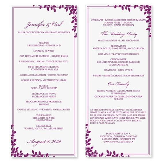Wedding Program Template Microsoft Word Wedding Program Template Download Instantly by Karmakweddings