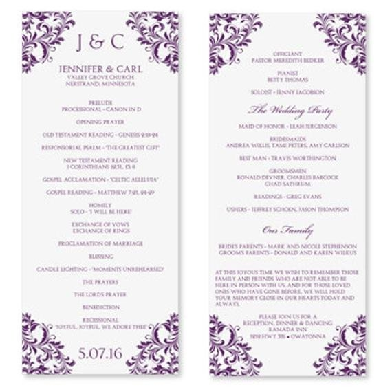 Wedding Program Template Microsoft Word Wedding Program Template Instant Download Edit by