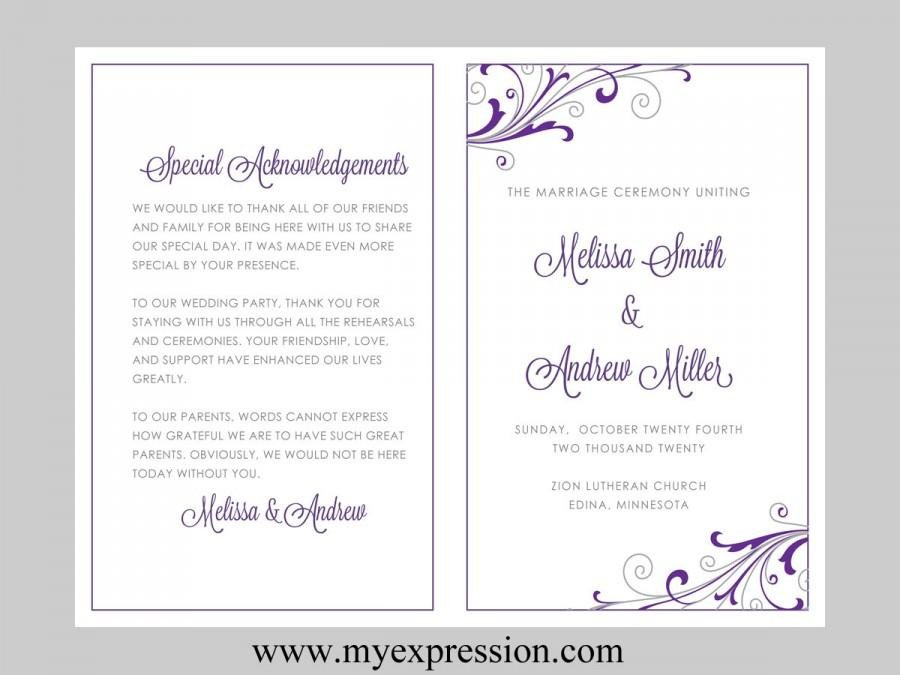 Wedding Program Template Microsoft Word Wedding Program Template – Swirl and Flourish Purple