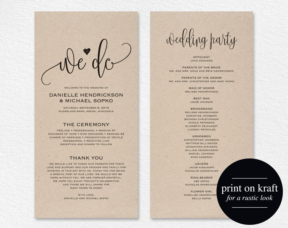 Wedding Program Template Microsoft Word Wedding Program Template Wedding Program Printable We Do