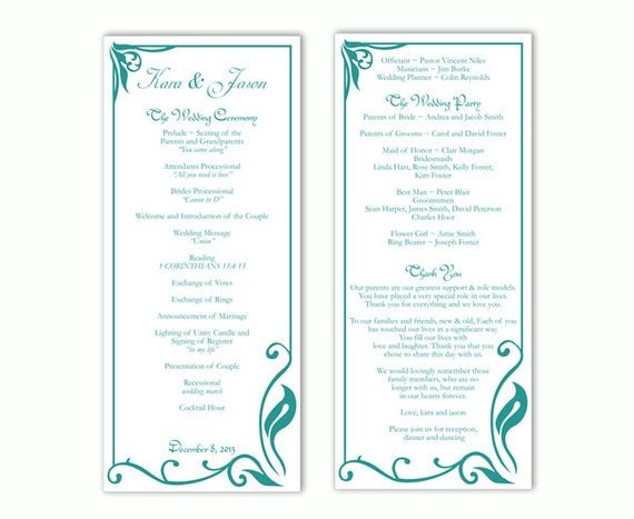 Wedding Program Templates Word Wedding Program Template Diy Editable Text Word File Download