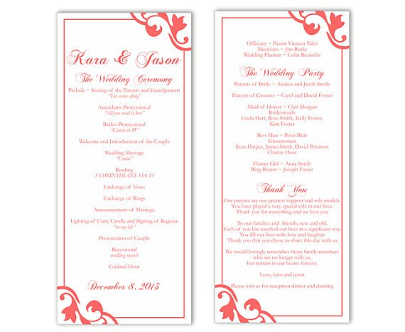Wedding Program Templates Word Wedding Program Template Diy Editable Text Word File