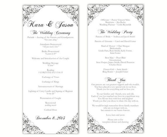 Wedding Program Templates Word Wedding Program Template Diy Editable Word File Instant