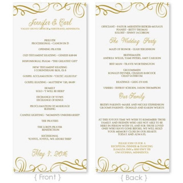 Wedding Program Templates Word Wedding Program Template Download Instantly Edit
