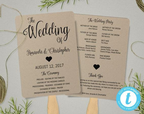 Wedding Programs Fans Templates Kraft Paper Program Fan Template Fan Wedding Program