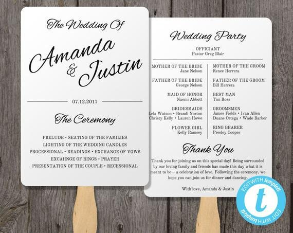 Wedding Programs Fans Templates Printable Wedding Program Fan Template Fan Wedding by