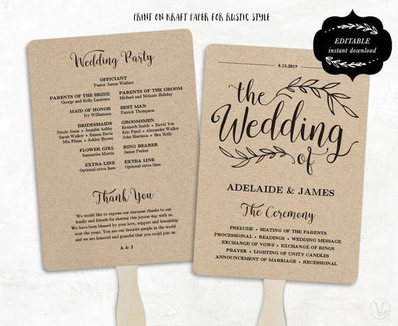 Wedding Programs Fans Templates Printable Wedding Program Template Fan Wedding by Vinewedding