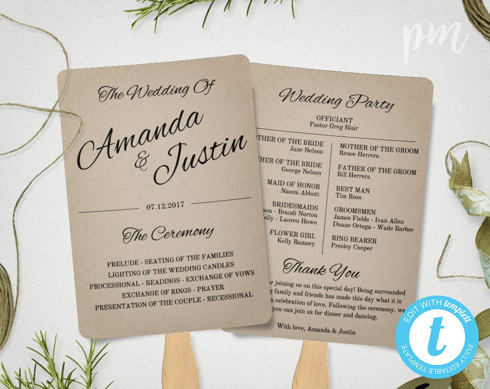 Wedding Programs Fans Templates Rustic Wedding Program Fan Template Fan Wedding Program