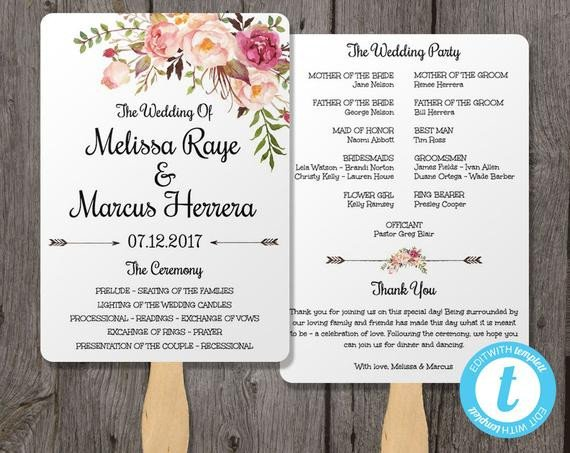 Wedding Programs Fans Templates Wedding Program Fan Template Bohemian Floral Instant by
