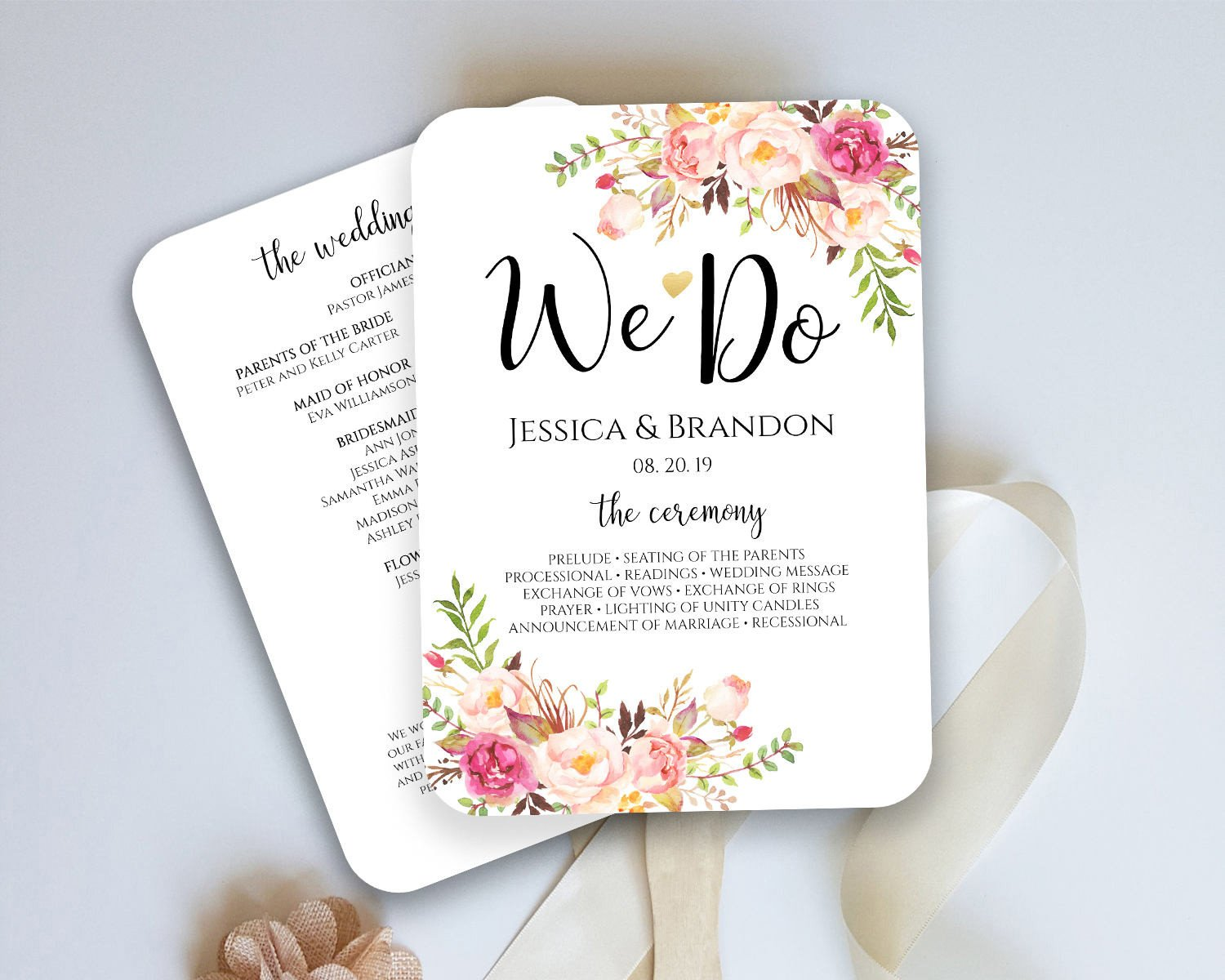 Wedding Programs Fans Templates Wedding Program Fan Template Ceremony Program Fan Wedding
