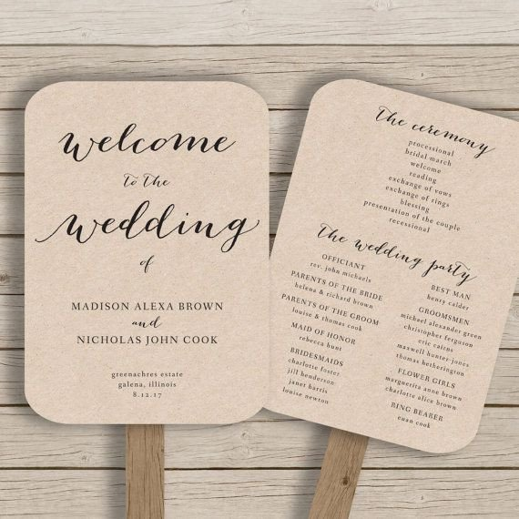 Wedding Programs Fans Templates Wedding Program Fan Template Printable Rustic Wedding