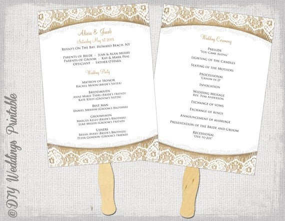 Wedding Programs Fans Templates Wedding Program Fan Template Rustic Burlap & Lace