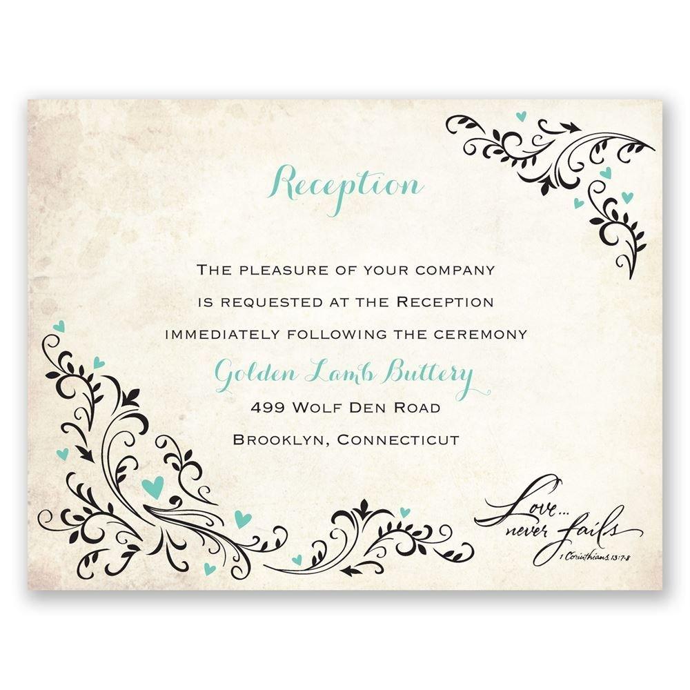 Wedding Reception Invite Templates Blossoming Love Reception Card
