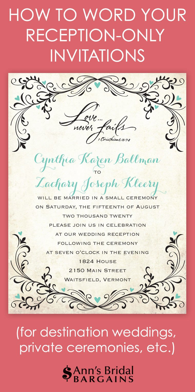 Wedding Reception Invite Templates How to Word Your Reception Ly Invitations