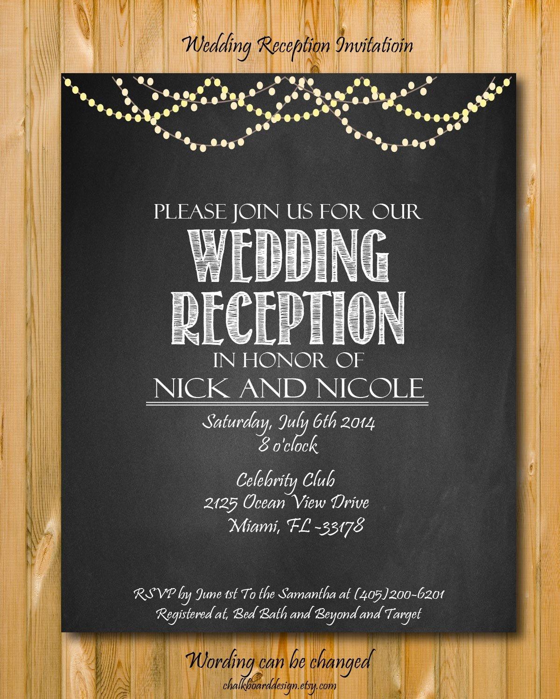 Wedding Reception Invite Templates Printable Wedding Reception Invitation Wedding by