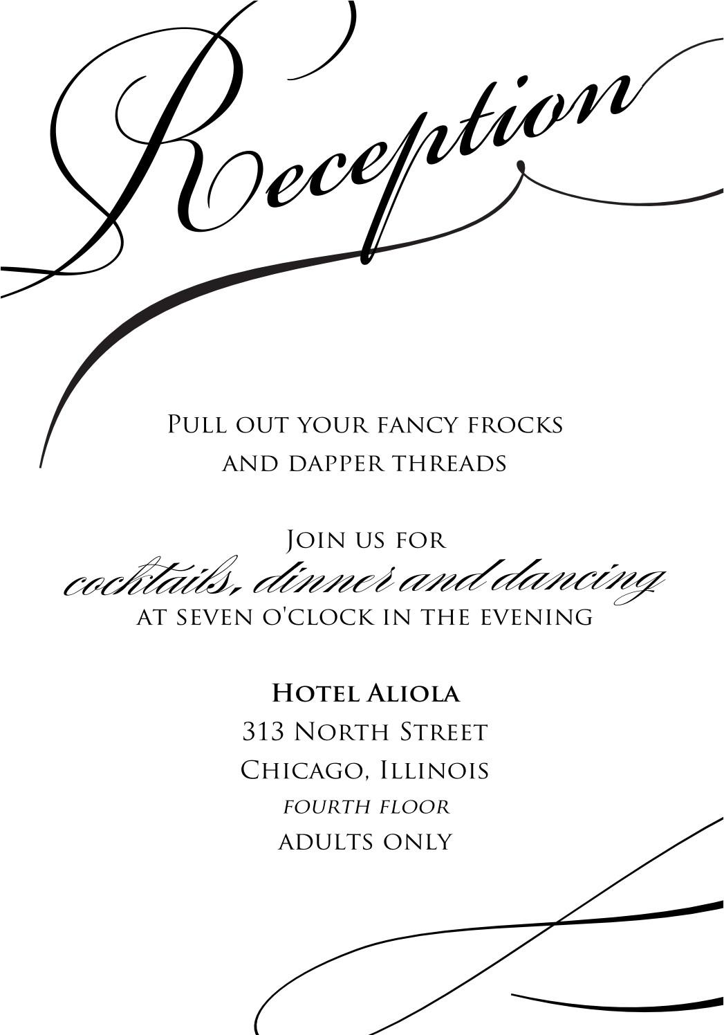 Wedding Reception Invite Templates Reception Amazing Stylish Black and White Wedding