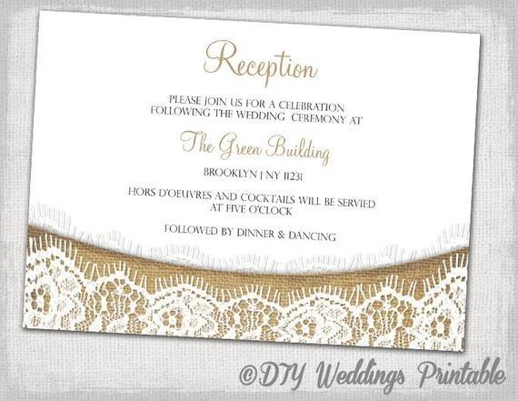 Wedding Reception Invite Templates Rustic Reception Invitation Template Diy Printable