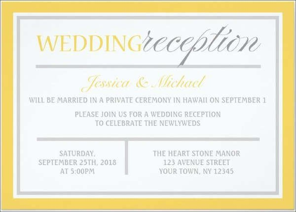 Wedding Reception Invite Templates Wedding Invitation Templates