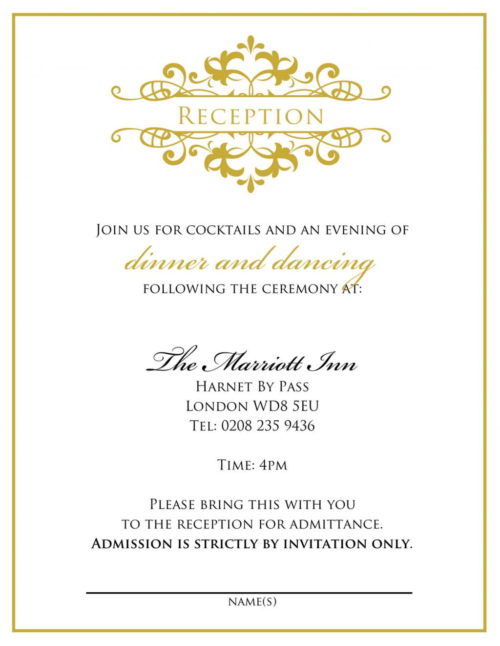 Wedding Reception Invite Templates Wedding Invitation Wording From Bride and Groom