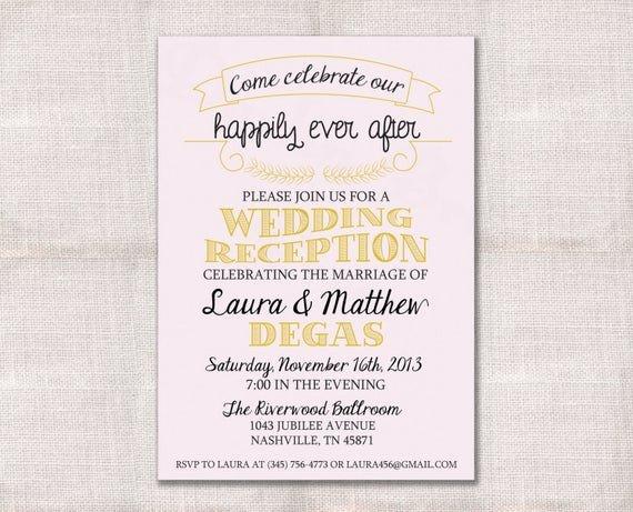 Wedding Reception Invite Templates Wedding Reception Celebration after Party Invitation Custom