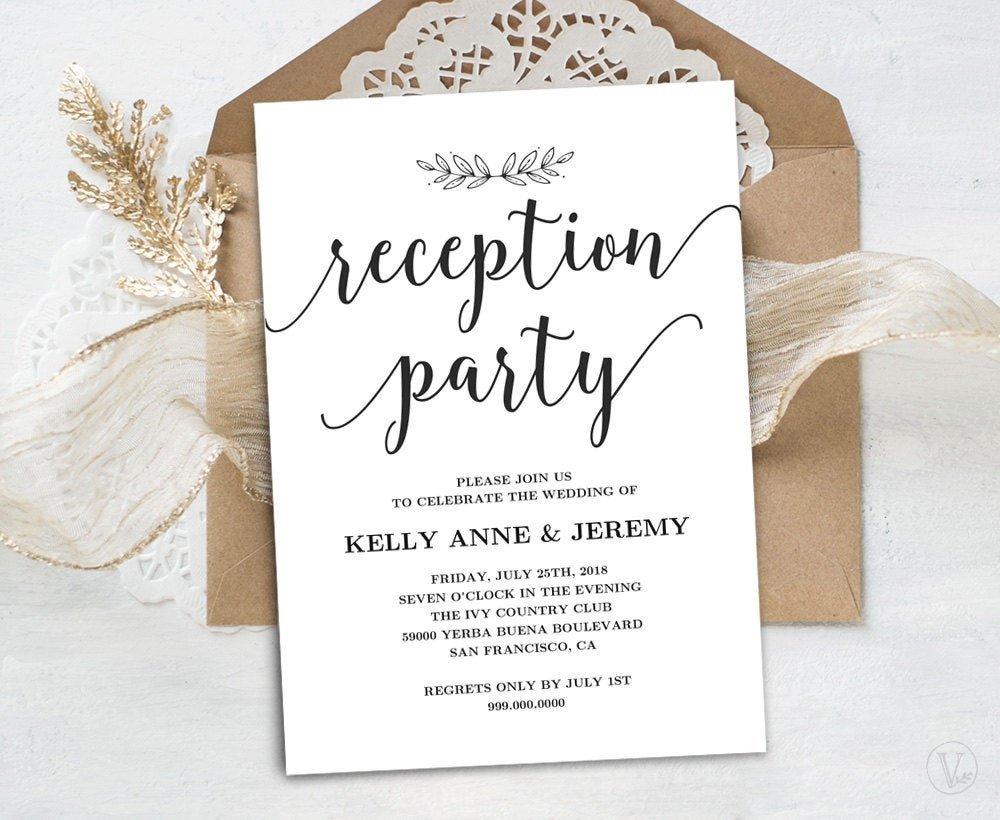 Wedding Reception Invite Templates Wedding Reception Invitation Printable Reception Party Card