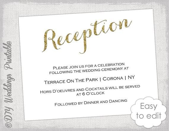 Wedding Reception Invite Templates Wedding Reception Invitation Template Diy Gold
