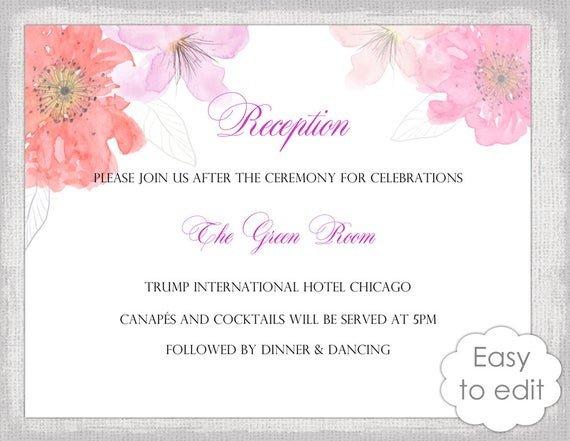 Wedding Reception Invite Templates Wedding Reception Invitation Template Diy Printable