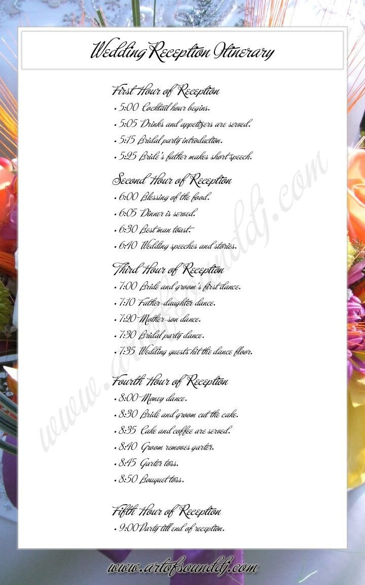 Wedding Reception Program Sample Wedding Reception Itinerary Great Idea Takes the