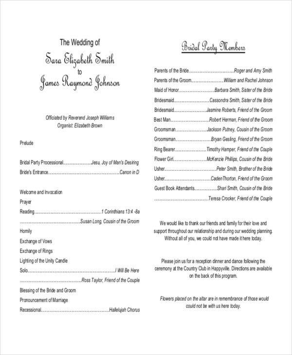 Wedding Reception Program Template 10 Wedding Program Templates Free Sample Example