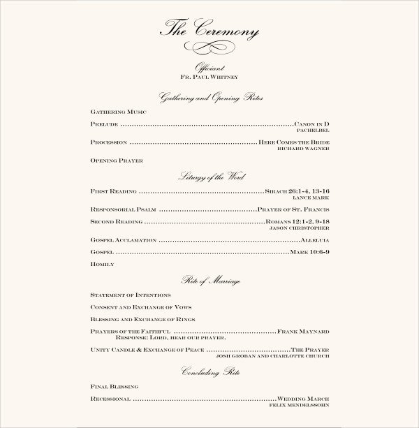 Wedding Reception Program Template 7 Wedding Reception Program Templates Psd Vector Eps