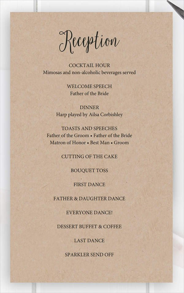 Wedding Reception Program Template 8 Wedding Party Program Templates Psd Vector Eps Ai