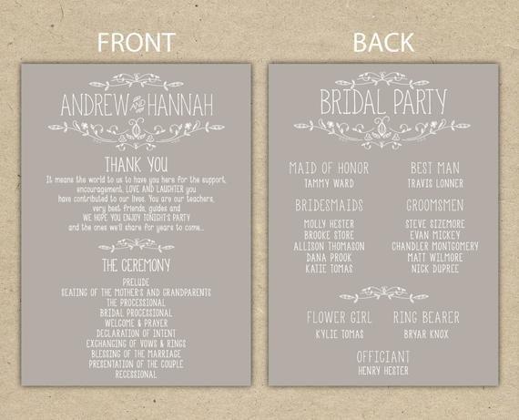 Wedding Reception Program Template Items Similar to Wedding Program Wedding Reception