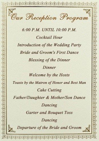 Wedding Reception Program Template Stationery Checklist for A Wedding