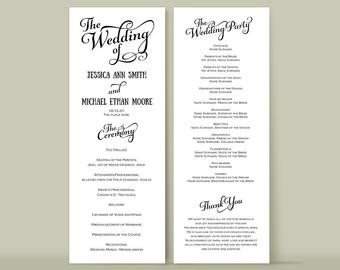 Wedding Reception Program Template Tea Length Program