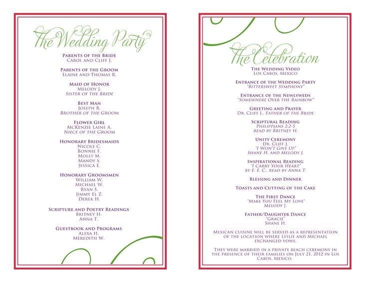 Wedding Reception Program Template Wedding Itinerary Templates Free
