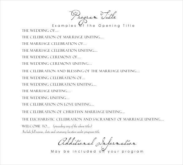 Wedding Reception Program Template Wedding Program Templates – 15 Free Word Pdf Psd