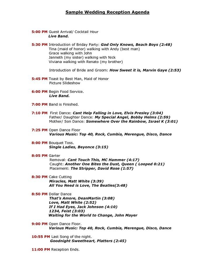 Wedding Reception Program Template Wedding Reception Program Agenda