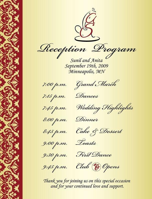 Wedding Reception Program Template Wedding Reception Program Sample