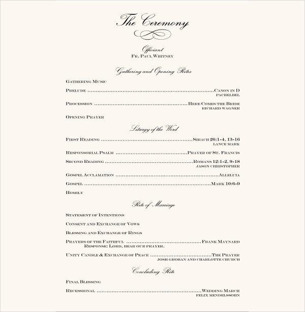 Wedding Reception Program Templates 7 Wedding Reception Program Templates Psd Vector Eps