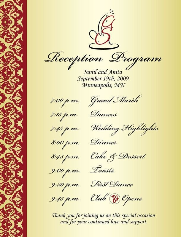Wedding Reception Program Templates Wedding Reception Program Sample