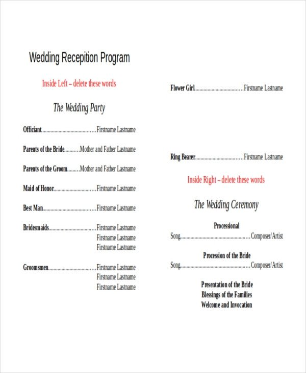 Wedding Reception Programme Template 10 Wedding Program Templates Free Sample Example
