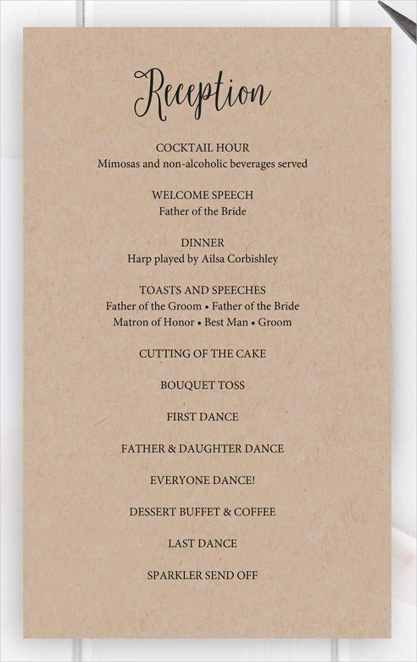 Wedding Reception Programme Template 8 Wedding Party Program Templates Psd Vector Eps Ai