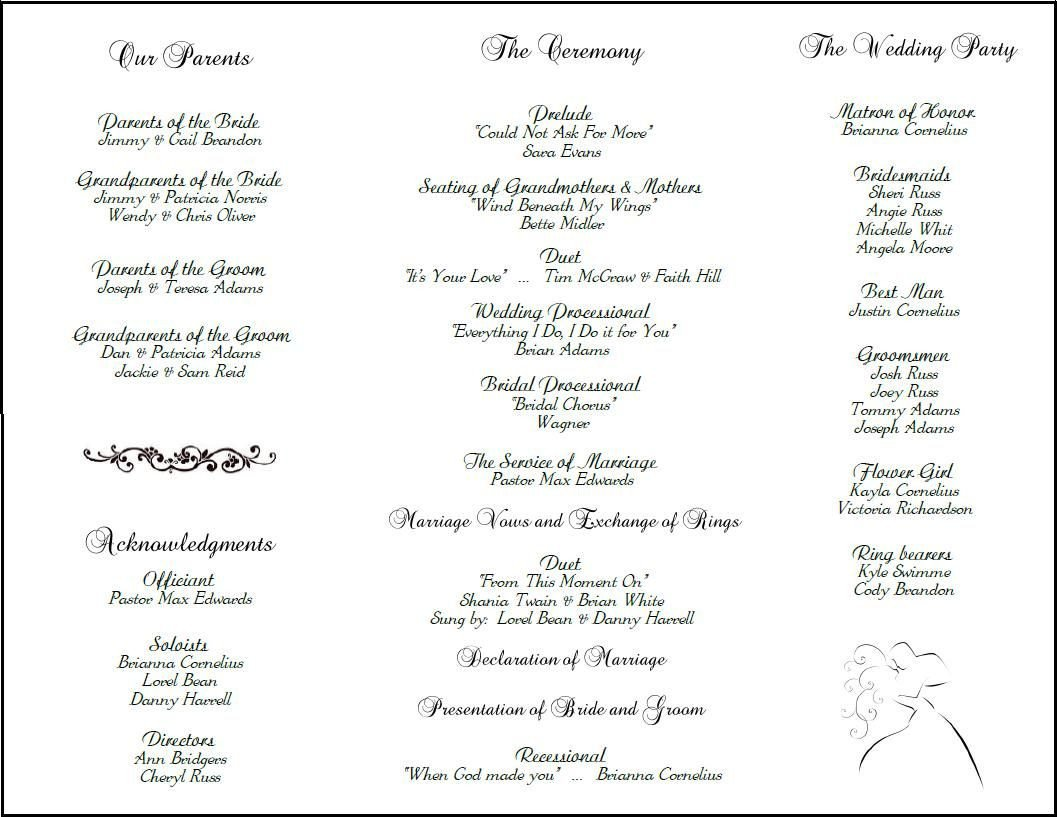Wedding Reception Programme Template Example Of Wedding Programs
