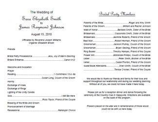 Wedding Reception Programme Template Free Wedding Program Templates