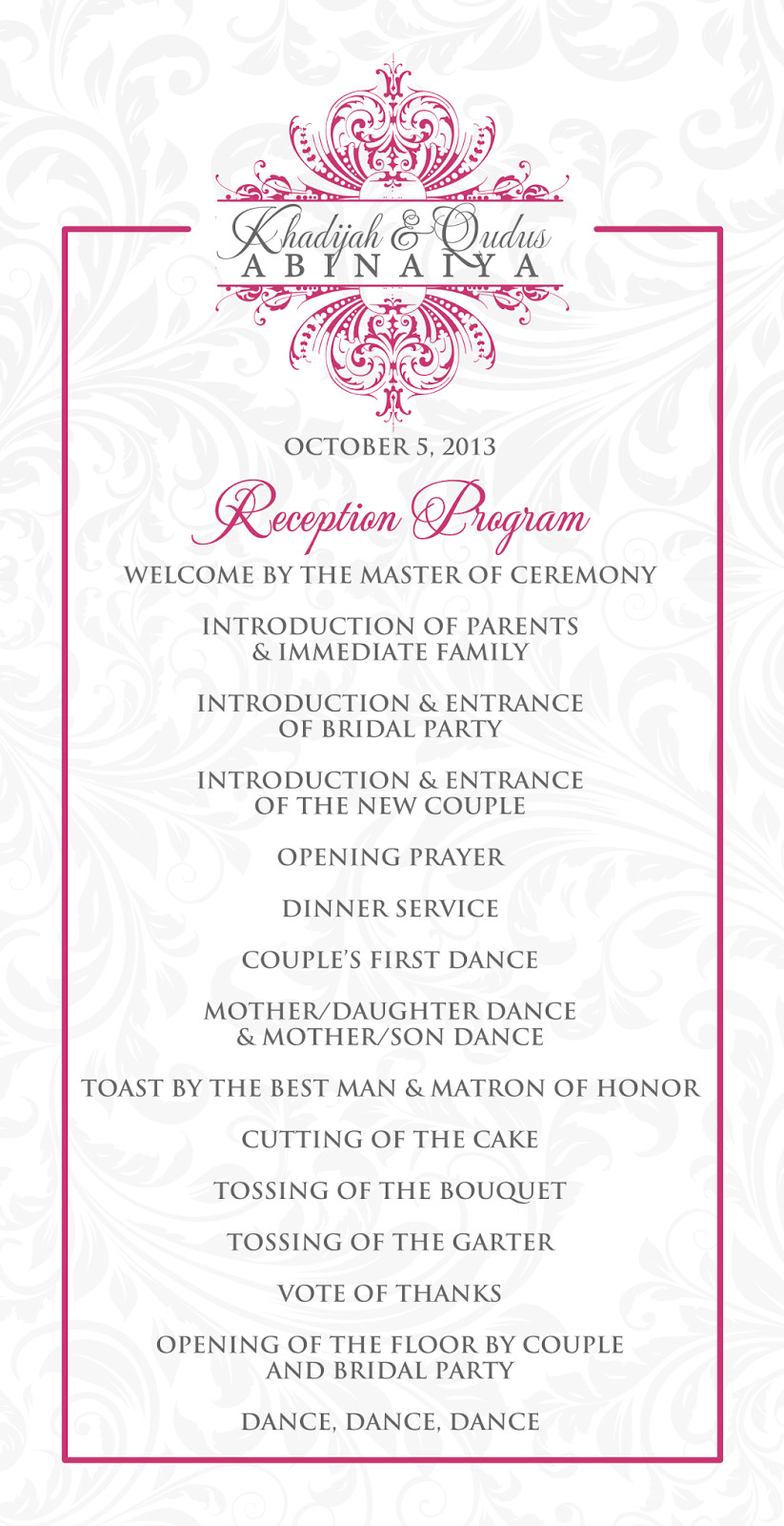 Wedding Reception Programme Template Signatures by Sarah Wedding Stationery for Khadijah