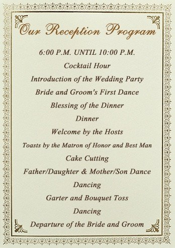 Wedding Reception Programme Template Stationery Checklist for A Wedding