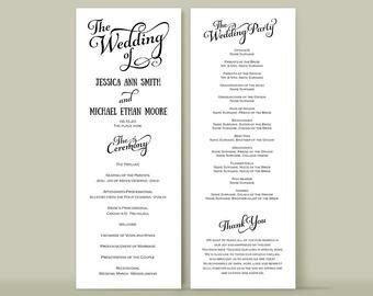 Wedding Reception Programme Template Tea Length Program